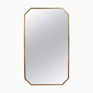 Italian Mid-Century Octagonal Wall Mirror with Brass Frame, 1950s