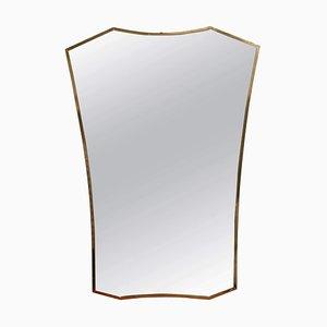 Italian Wall Mirror with Brass Frame, 1950s