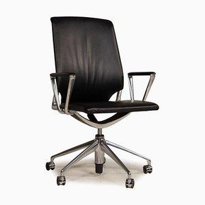 Schwarzer Leder Bürostuhl von Vitra