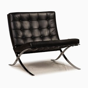 Poltrona in pelle nera di Ludwig Mies Van Der Rohe per Knoll Inc. / Knoll International