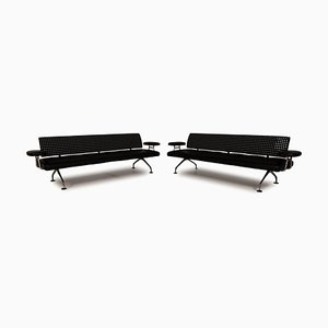 Black Area Leather Sofa Set from Vitra, Set of 2