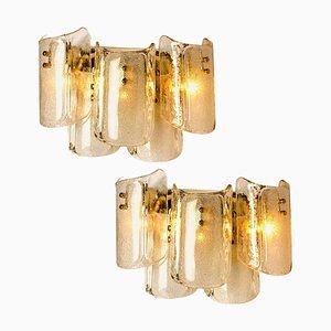 Große Massive Glas Wandlampen im Stil von Kalmar von JT Kalmar, 2er Set