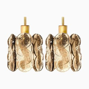 Small Chandeliers in Citrus Swirl Smoked Glass from Kalmar, Austria, 1960s, Set of 2