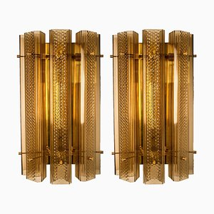 Large Murano Sconces in Glass and Brass, Set of 2
