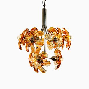 Murano Chandelier in Orange Clear Glass and Chrome from Mazzega, 1960s
