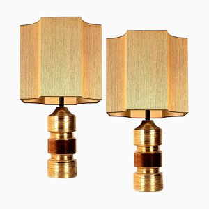 Bitossi Lamps for Bergboms with Custom Made Shades by Rene Houben, Set of 2