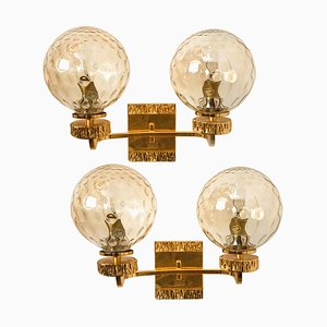 Large Gold-Plated Glass Wall Lights in the Style of Brotto, Italy