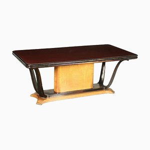 Burl Veneer, Stained Beech and Formica Dining Table, Italy, 1940s
