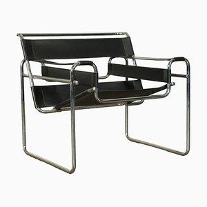 Leather and Chromed Tubular Armchair, Italy, 1970s