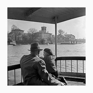 Man, Child Passing Ferry House Hamburg Uhlenhorst, Germany 1938, Printed 2021