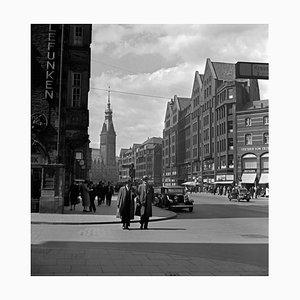 Moenckebergstrasse, City Hall, Cars, People, Hamburg Germany 1938 Printed 2021