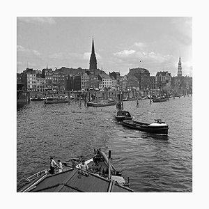 Barges Boats at Hamburg Harbor to St. Nicholas Church Germany 1938 Printed 2021