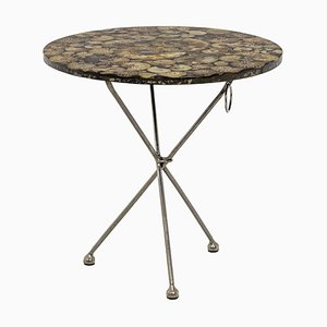 Iron and Fossilized Ammonite Pedestal Table, 1980s
