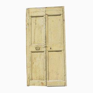 Gelbe und weiße Doppeltüren aus Holz, 1900er