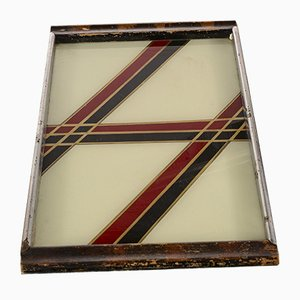 Italienisches Tablett mit Holzgriffen & verchromtem Metall, 1960er