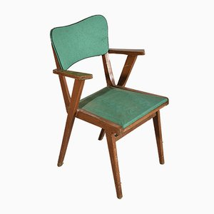 Armchair with Solid Wood Frame and Green Leatherette Seat, Italy, 1960s