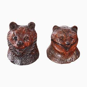 Antique Carved Black Forest Bear Inkwells, Set of 2