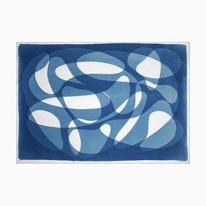 Unterwasser-Strudel, Blauer Horizontaler Abstrakter Cyanotypie, 2021