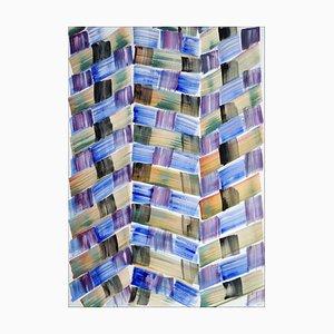 Abstraktes Gitter Gemälde von Coolen Pinselstrich Patchwork in Dunklen Warmen Tönen, 2021