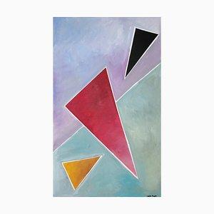 Diagonale Triangle Dream, abstrakte geometrische Gemälde auf Leinen in Pastelltönen, 2021