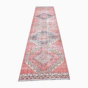 Vintage Turkish Handmade Kilim Runner Rug in Red Wool