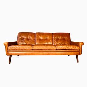 Mid-Century Danish Cognac 3-Person Sofa by Svend Skipper, 1965