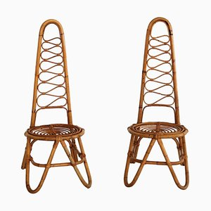 Mid-Century Italian Stool or Low Chair in Bamboo, 1950s, Set of 2