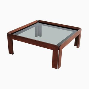 Mid-Century Italian Square Coffee Table in Mahogany and Smoked Glass, 1960s