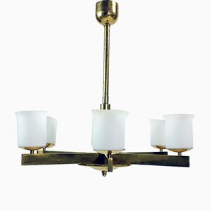 Art Deco Brass Ceiling Lamp with 2 Sets of Glass Shades, Czechoslovakia, 1920s