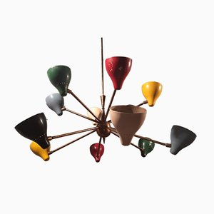 Brass Chandelier with 12 Colored Cones by Gino Sarfatti for Arteluce, 1950s