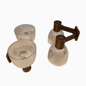 Brass Wall Lamp with Ribbed Glass in the Style of Azucena from Fidenza Vetraria, 1950s