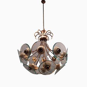 Chandelier in Brass and Iron with Curved Glass by Pietro Chiesa for Fontana Arte, 1950s
