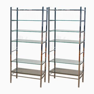 Italian Modernist Display Bookcases in Chrome with Glass, 1970s, Set of 2