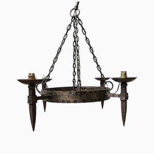 Mid-Century French Brutalist Hammered Iron Chandelier