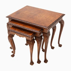 Burr Walnut Chippendale Nesting Tables, 1920s, Set of 3