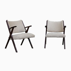 Italian Armchairs in Walnut and Beige Velvet from Dal Vera, 1950s, Set of 2