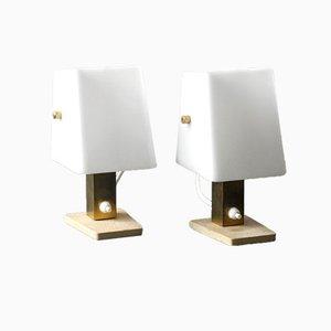 Lámpara de mesa de noche de latón y plexiglás de Hillebrand. Juego de 2