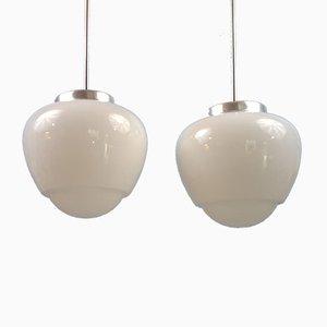Modernist Opaline Glass Globe Pendant Lamps, Set of 2