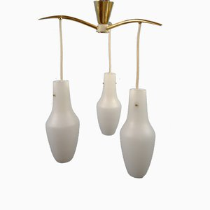 Mid-Century Brass Chandelier with 3 Opaline Glass Shades, Probably Germany, 1960s