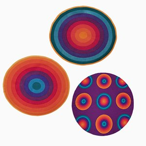 Mira-X Set Circle Tablecloth and Placemats in Rainbow Colours by Verner Panton, 1970s, Set of 3