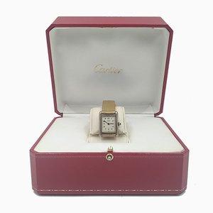 Must De Cartier Tank Quartz Uhr aus vergoldetem Silber von Cartier Vermeil
