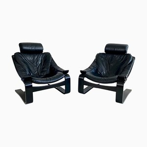 Kroken Black Leather Lounge Chairs by Ake Fribytter for Nelo, 1970s, Set of 2