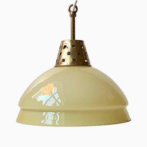 Scandinavian Pendant Light in Cased Glass & Brass, 1960s