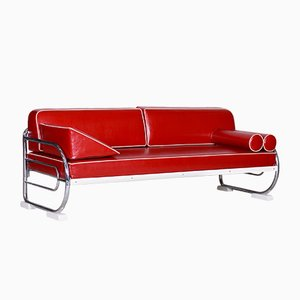 Cherry Red Sofa in Leather and Chrome Plated Steel by Robert Slezák for Slezak, 1950s