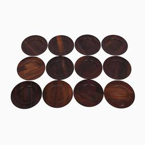 Rosewood Plates by Jens H. Quistgaard for The Crown Journey of Denmark, Set of 12