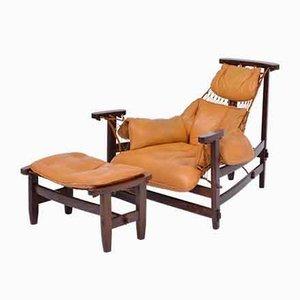 Iconic Brazilian Jangada Lounge Chair with Ottoman by Jean Gillon for Italma Wood Art, 1968, Set of 2