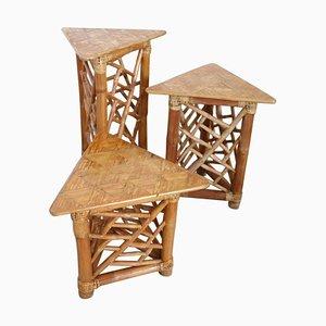 Vintage Bamboo Pedestal Tables, Set of 3
