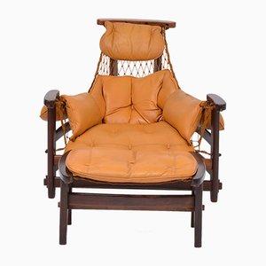Brazilian Jangada Lounge Chair with Ottoman by Jean Gillon, 1968, Set of 2