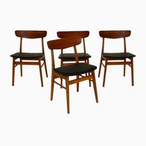 Teak Stühle, Dänemark, 1960er, 4er Set
