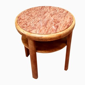 Art Deco Root Wood Side Table with Marble Top